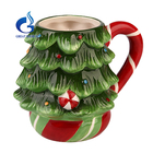 Hand painted christmas decoration ceramic coffee mug with handle