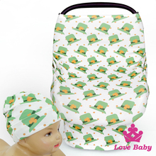 CT-85 Lovebaby St.Patricks Day Printed Cute Green Hat Baby Car Cover With Baby Fancy Hat Desugn