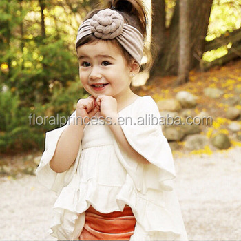 Baby girls Tie Knot Headband Knitted Cotton Children Girls elastic hair  bands Turban bows for girl 1220450c0b0