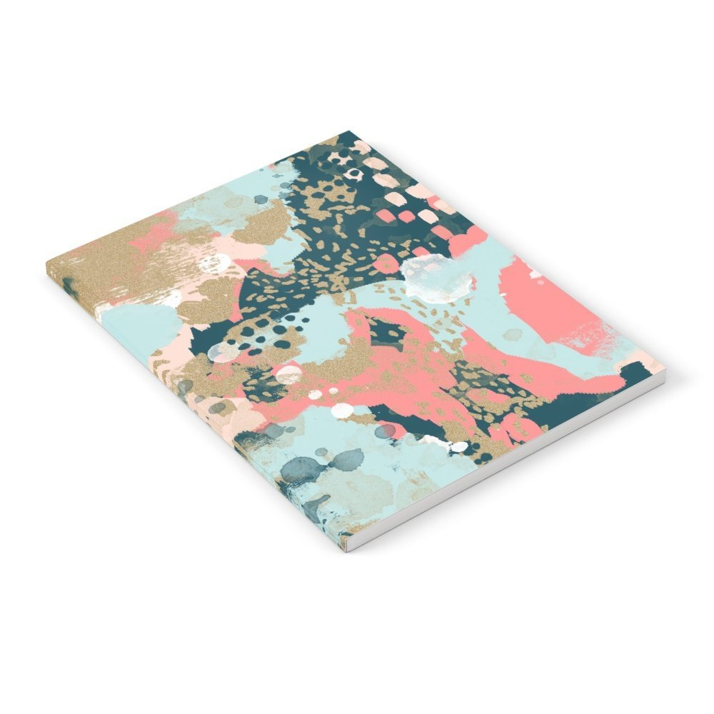 """Society6 Eisley - Modern Fresh Abstract Painting In Bright Colors Perfect For Trendy Girls Decor College Notebook 6"""" x 8"""" Unlined"""