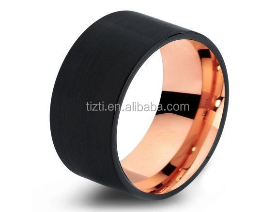 Mens Wedding Band Two Tone Black Rose Gold Tungsten Ring Brushed