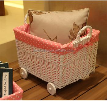 handmade fabric lined white wicker storage basket with wheels wicker baby pram basket with wheels & Handmade Fabric Lined White Wicker Storage Basket With Wheels Wicker ...