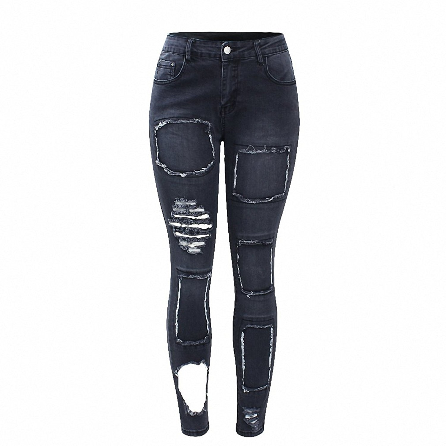 1386e1ae7e6 Black Patchwork Jeans New Women`s Mid Waist Torn Stretchy Denim Trousers Ripped  Skinny Jeans