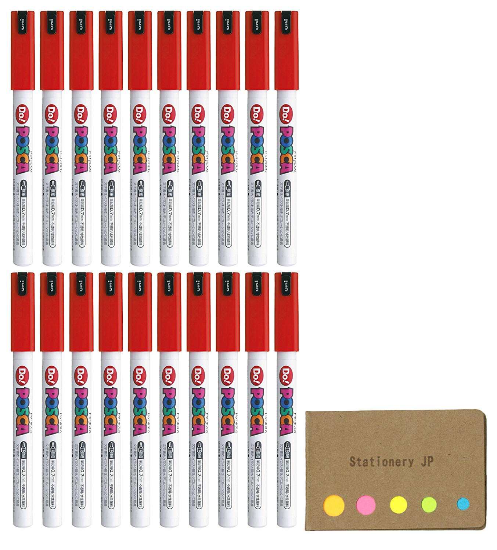 Uni Posca Paint Marker Pen PC-1MD, Extra Fine Point, Standard Color Red Ink, 20-pack, Sticky Notes Value Set