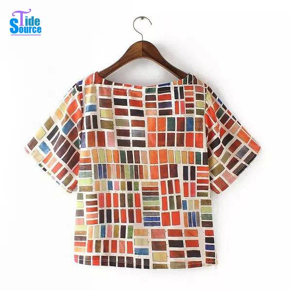 Colorful Plaid T Shirts Women 2015 Summer Style Casual T-shirts Girls Casual tshirts Short Sleeve Plaid Tops Women Vintage Tops
