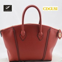 Women Bag 2015 New Arrival Fashion Soft Leather Tote Metal Lock Handbag with long strap