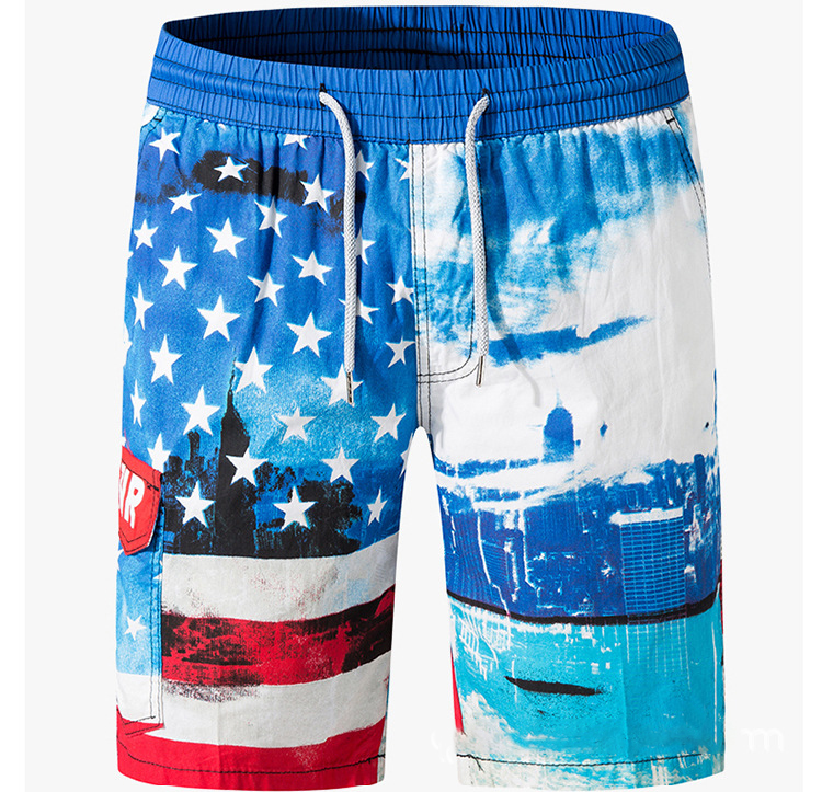 Wholesale Casual Stretch Custom Printed Mens Polyester Spandex Shorts