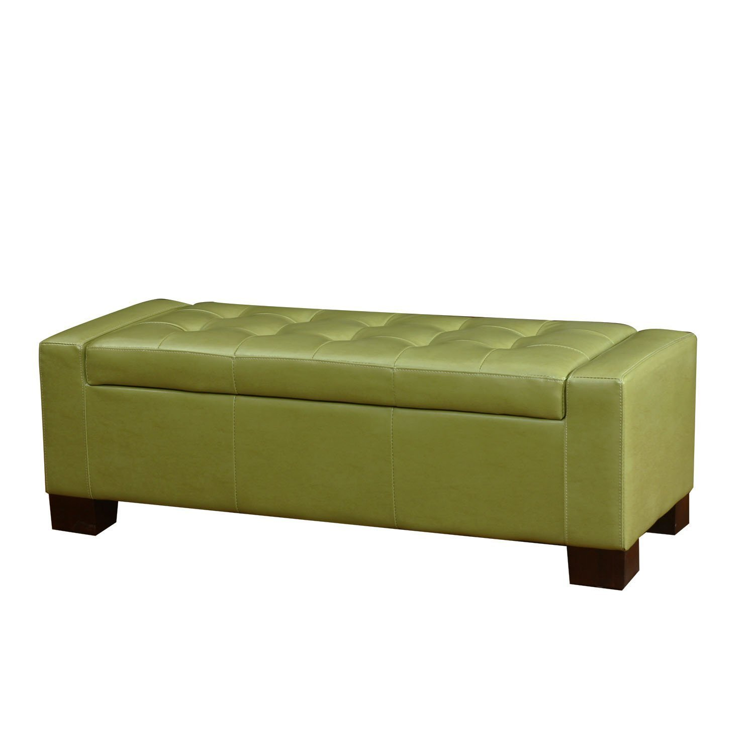 ELEGAN Bonded Leather Tufted Accents Rectangular Storage Bench Ottoman