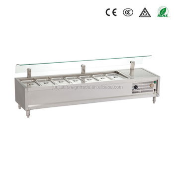Attirant Guangzhou Manufacturer Stainless Steel Bench Table Top Salad Bar With Glass  Display For Restuarant And Hotel