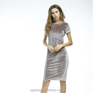 cheap and good quality silver satin short sleeve bling velvet dress for beautiful ladies