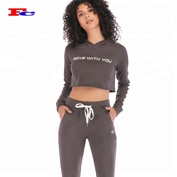 Ladies Women Work Out Print Hooded Crop Top Tracksuit Activewear Jog Bottoms Set