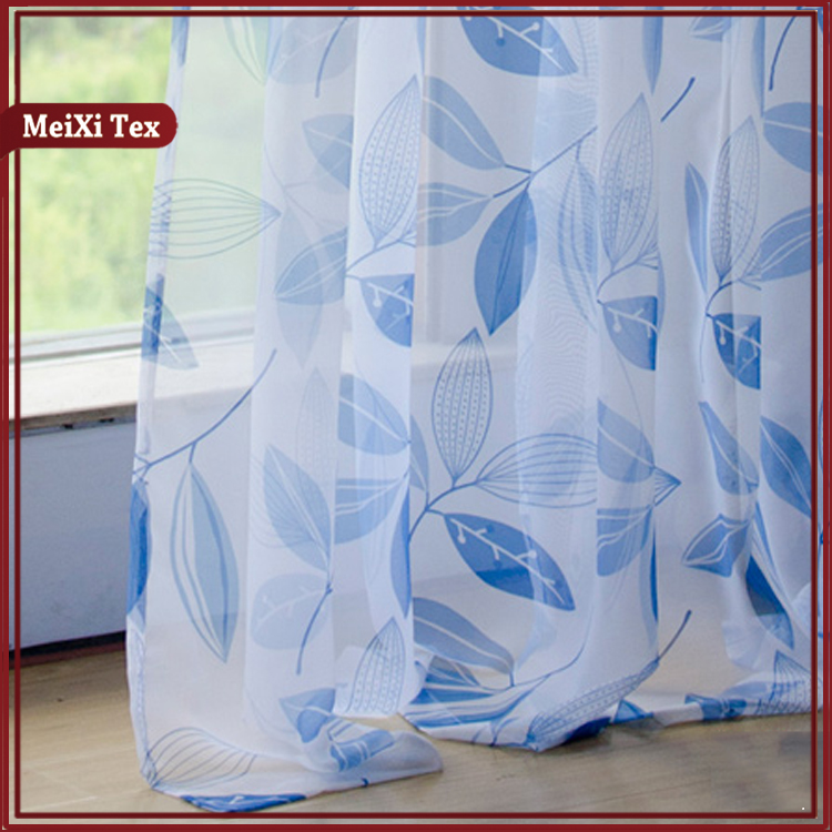 Hot Selling 10 Years Experience small geometric simple navy blue valance print curtains, white sheer curtain panels plain voile