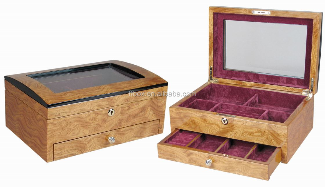 Glass Top Wood Watchjewelry Box Case Chest With Drawer For