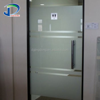Restaurant Indoor Double Frosted Cheap Sliding Tempered Glass Door