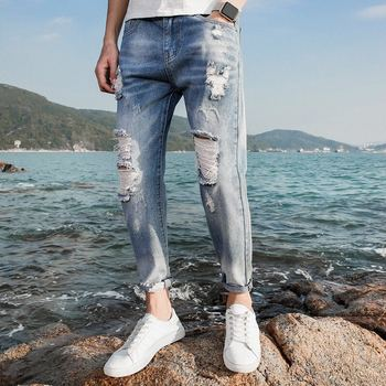 9b557545499b New Model Men Summer Cotton Ripped Nature Style Jeans Pent ...