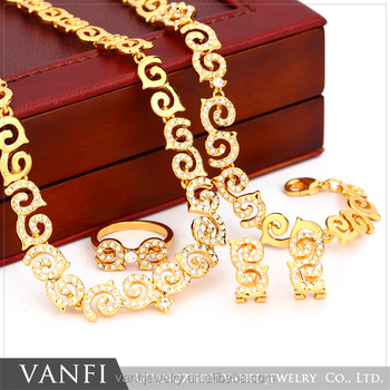 African Costume Jewelry Alloy Rhinestone Necklace Earring Bracelet