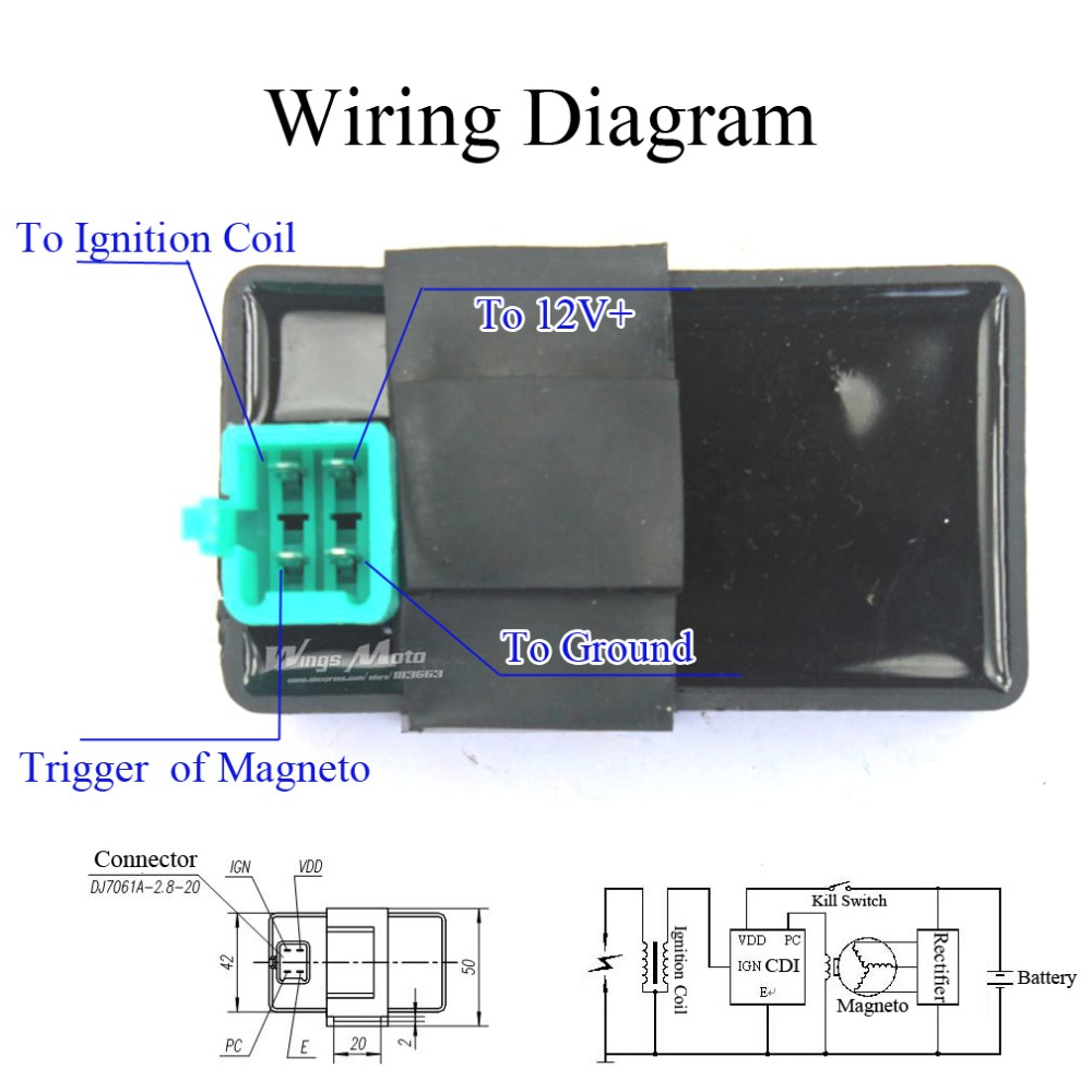 wiring diagram 498 CDI. Features: 4 PINS DC CDI BOX ...