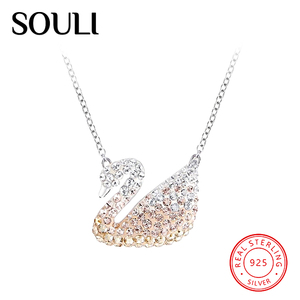Crystal Fashion Women Jewellery S925 Sterling Silver Swan Pendant Necklace