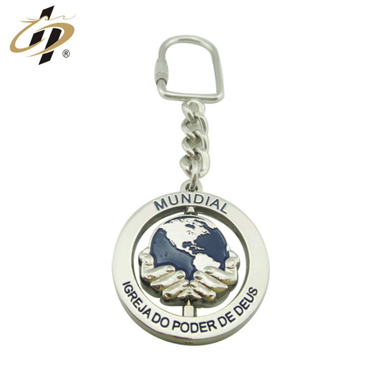 Wholesale cheap custom silver plated enamel logo metal rotate keychain