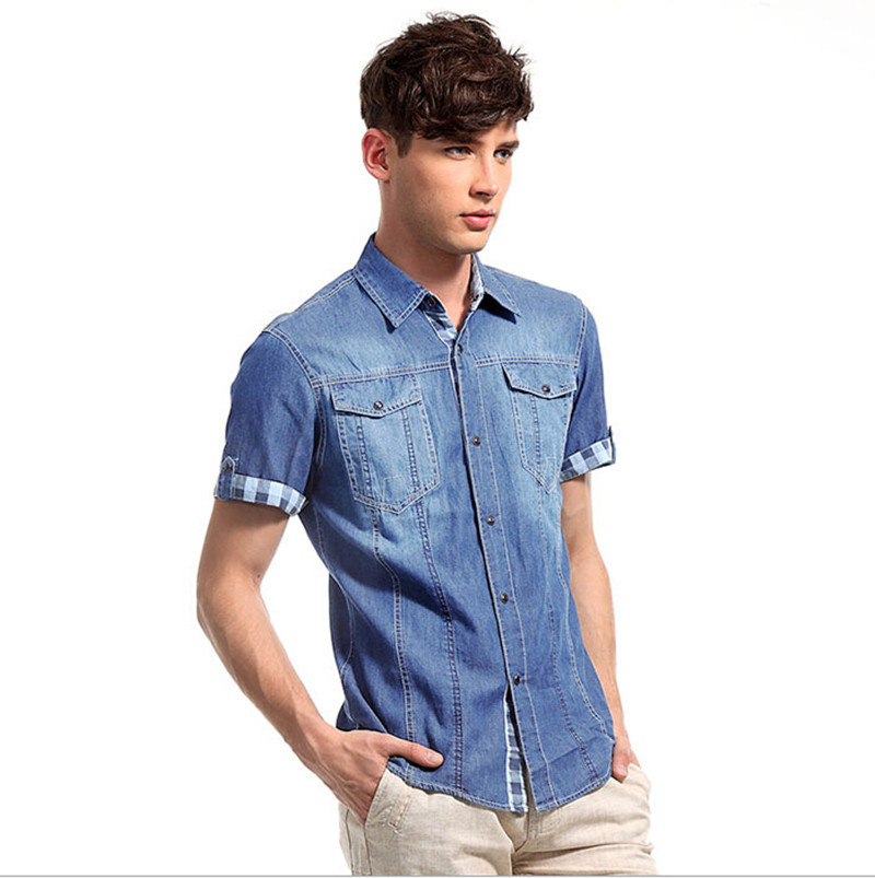 0876abb5d0 Buy Summer korea style men short sleeve denim shirts mens casual denim  shirts mens slim fit single button jeans camisa tops in Cheap Price on m .alibaba.com