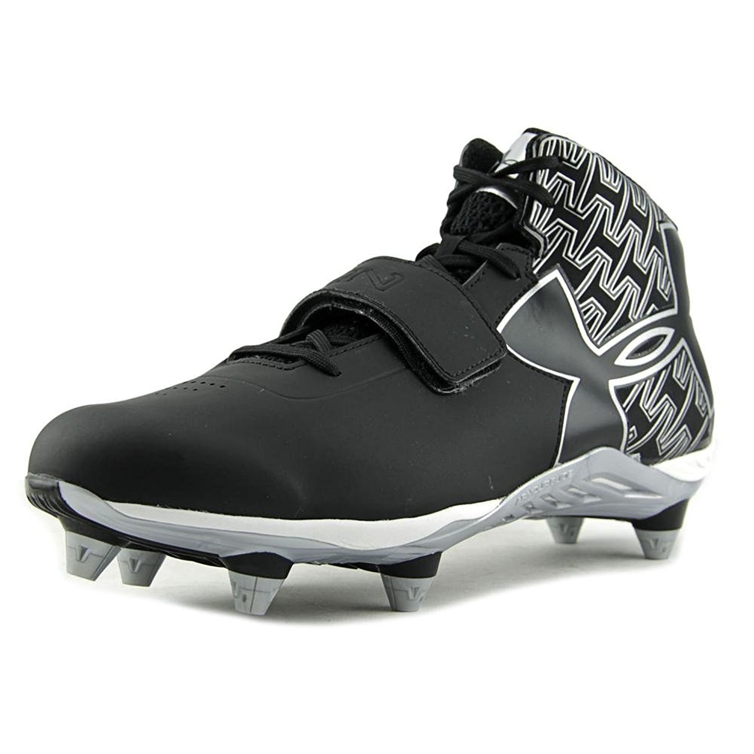 Under Armour C1N Mid D Football Cleats Men W Round Toe Synthetic Black  Cleats fe64185a6bfd