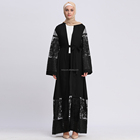 Top Quality Eid Ramadan Fashionable Embroidery Mesh Sexy Girl Hand Designs Abaya Japanese Wedding Kimono