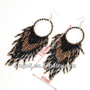 Brown & Black Native American Seed Bead Earrings