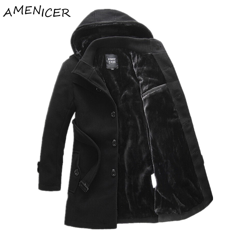 mens winter trench coat single breasted extra long hooded. Black Bedroom Furniture Sets. Home Design Ideas