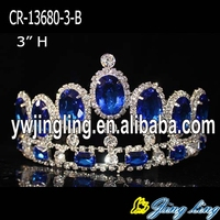 "3"" Chunky Blue rhinestone wholesale crown and tiara"