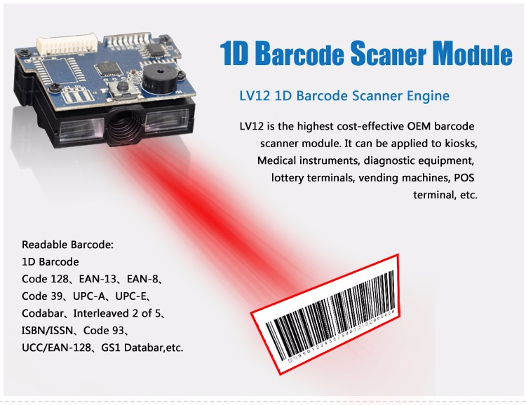High Sensitive 1d Oem Usb Kb Rs232 Barcode Scanner Module