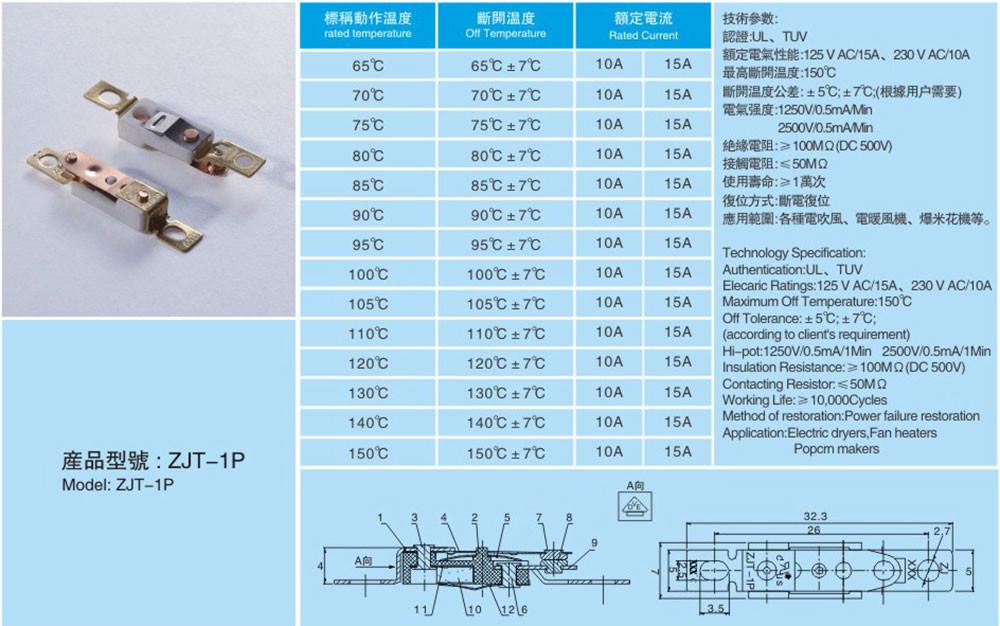 Zhuojian temperature cutout switch