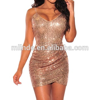 Womens Sexy Rose Gold Sequin Ruched Backless Party Club Mini Dress 2017 4857e97f4b