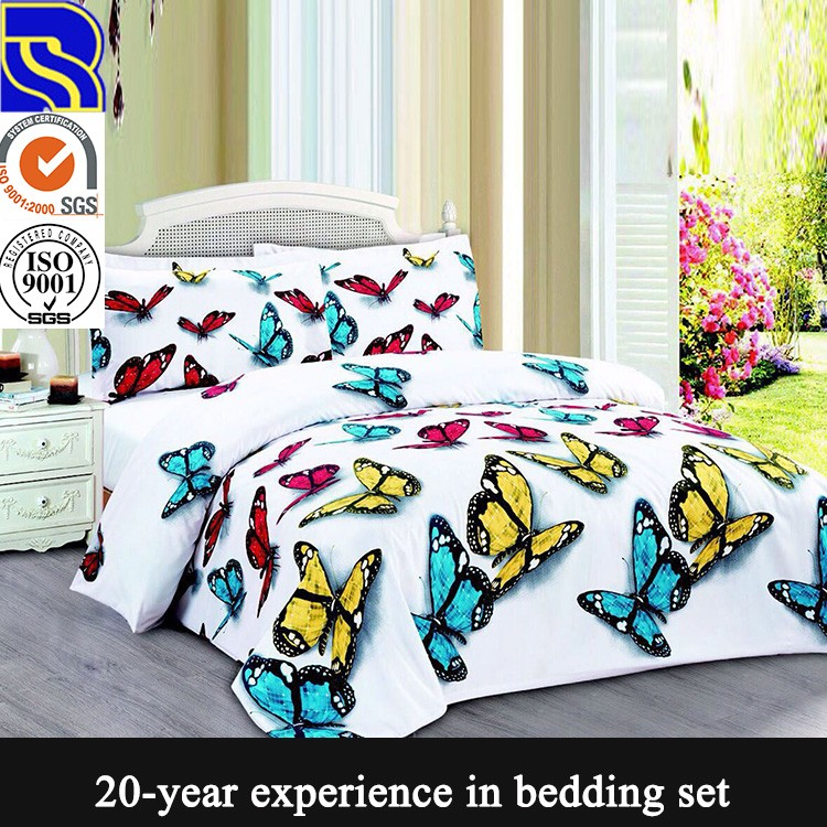 Factory direct supplier flower printed easycare soft 3d bedsheet