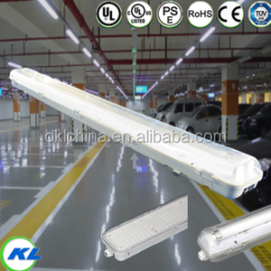 UL listed IP65 2ft 4ft waterproof ceiling light fitting t8 double tube light fitting