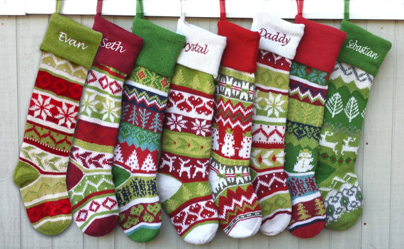 Personalized Knitted Christmas Stockings, Personalized Knitted ...