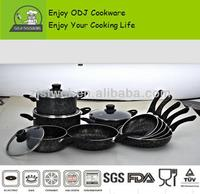 Pressed Aluminium Non-stick Cookware Set pots & pans /marbel coating