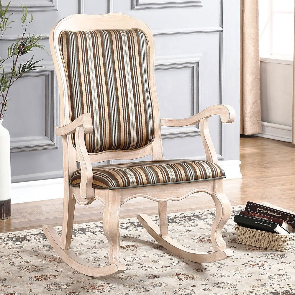 1PerfectChoice Sharan Accent Rocking Chair French Provencial White Washed  Wood Fabric Cushion