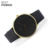 2018 Best selling premium quality fashion simple watch alloy case black leather men watch
