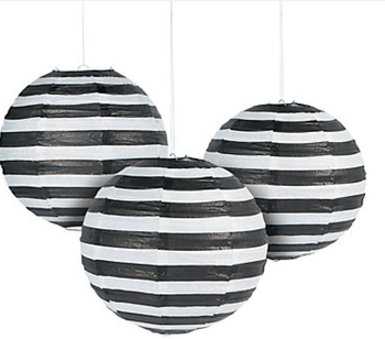 black and white striped paper lanterns
