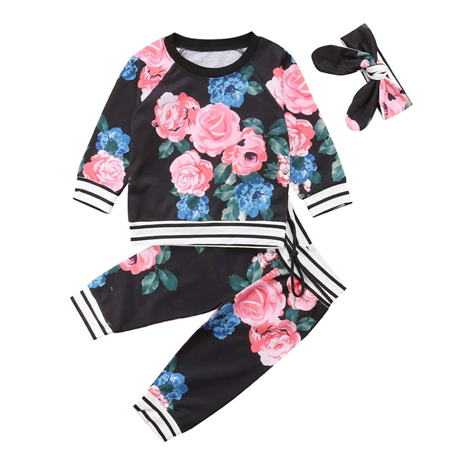 84aeeb09fd94 Get Quotations · DY coperate Newborn Baby Girl Long Sleeve Floral Tops +  Floral Pants Headband Outfit Pullover Sweatshit