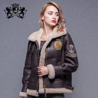 Short style warm brown genuine lamb skin with shearing men and women leather jacket