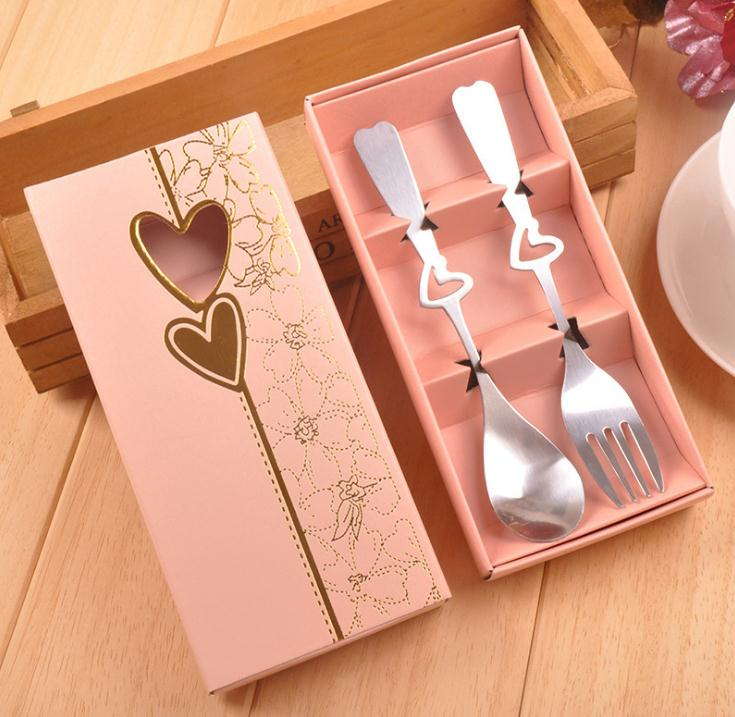 Wedding <strong>Gifts</strong> for Guest 200pcs=100set Perfect Pair Coffee Spoons and Fork In <strong>Gift</strong> Box Party Souvenirs
