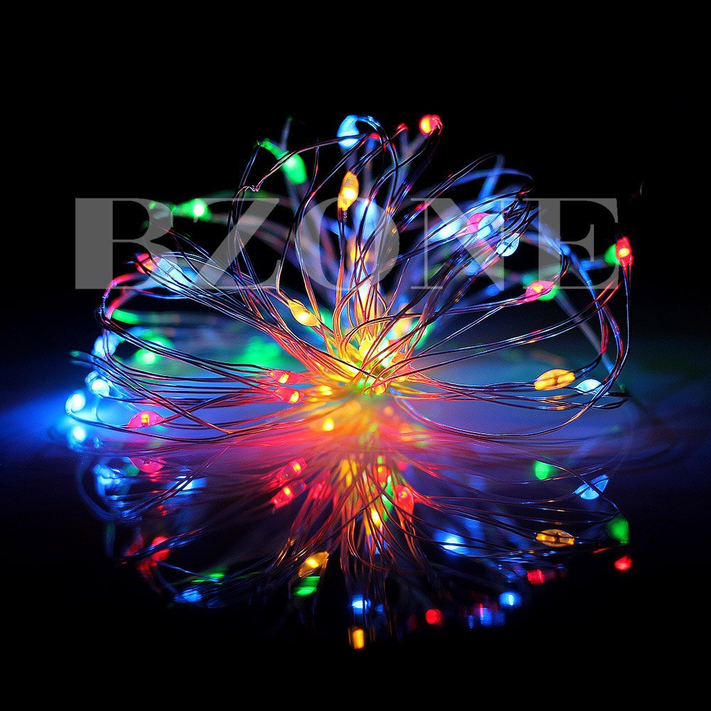 BZONE Multi-colored 5m LED String Lights Starry String Light with Remote Control (Timer Function, 50 Leds, 16.4ft, Battery Powered, Red+Green+Blue+Warm White Light)