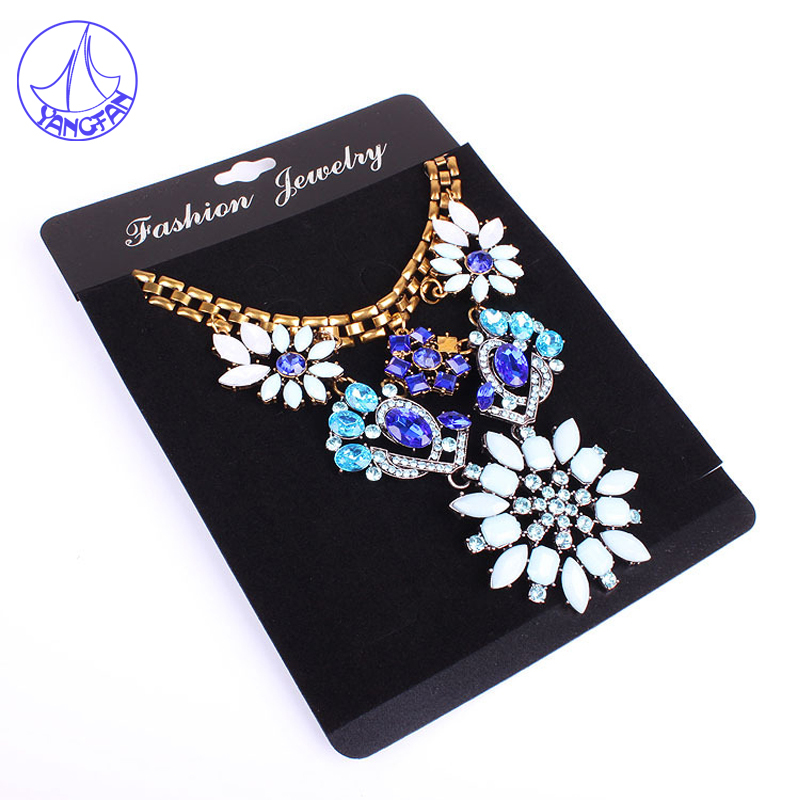 Big Size 14x19cm Black Plastic Jewelry Card Necklace 100Pcs/lot Personalized Jewelry Cards With Logo Display Packing JC#2019