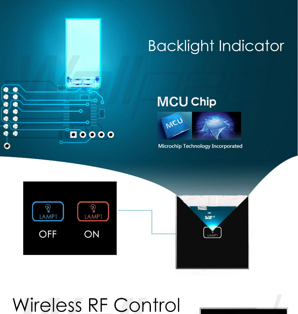 Hot Sales Wallpad White Crystal Glass Led Light Wireless Remote 4 ...