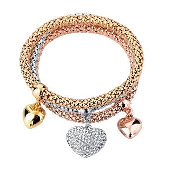 Fashion Three Tone Jewelry Brands Unique Heart Bracelets For Women