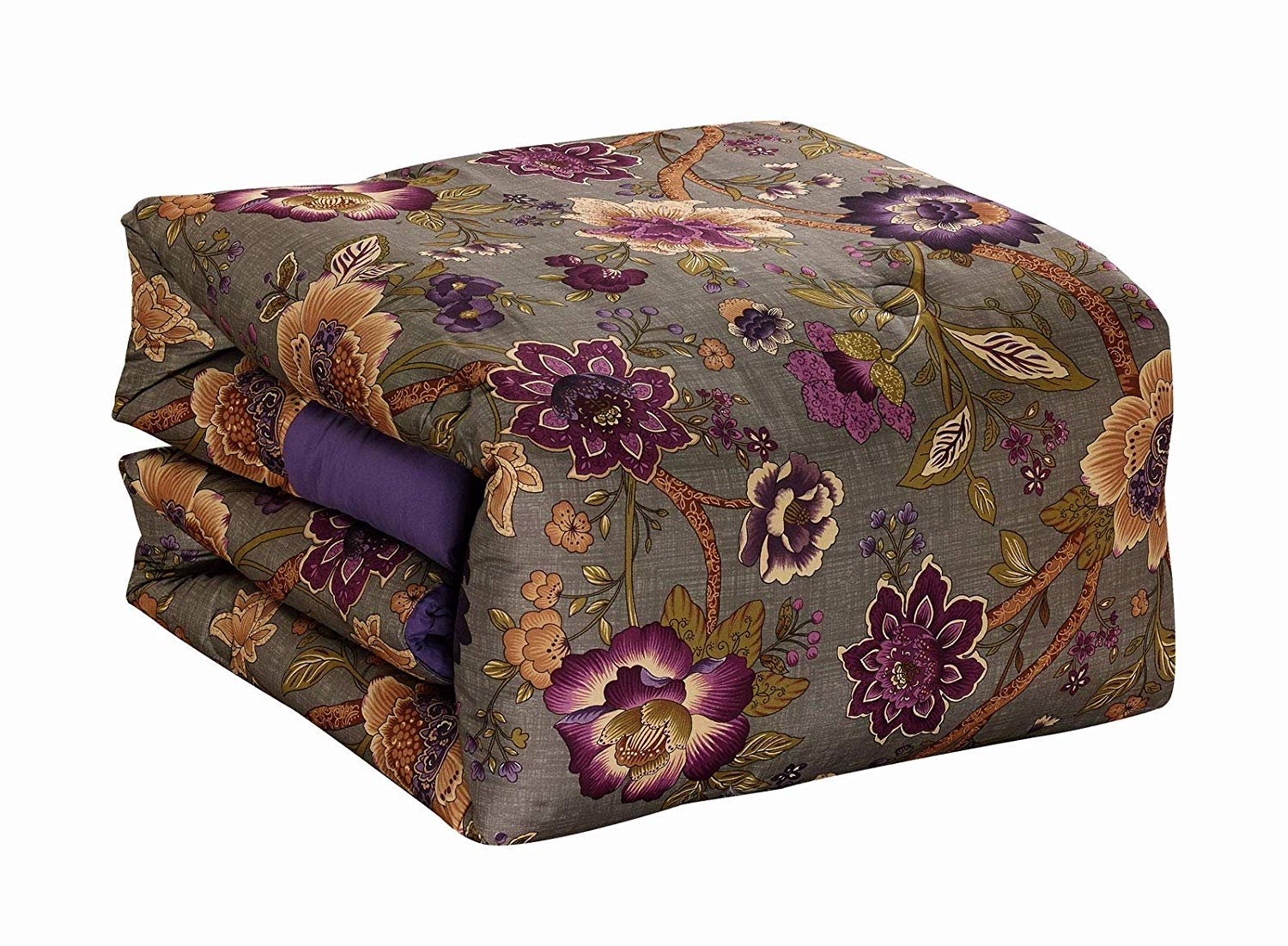 JedaJeda New 7-Piece Queen Size Cover Duvet Printed Floral Comforter Set Clay Gold Gray Purple Flower