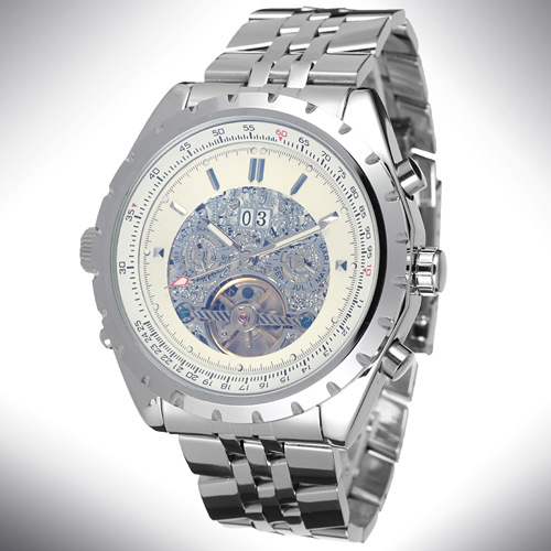 Mechanical men's chronograph watch with alloy case