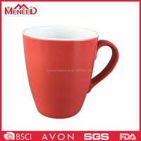 White and red color plastic mug with handle , melamine beer cup