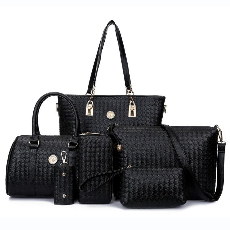 L088 2017 Top Sell Bag Women Handbag Designer Handbag Tote Woven Bag 6 in 1Set  Bags 0f67142f1719a